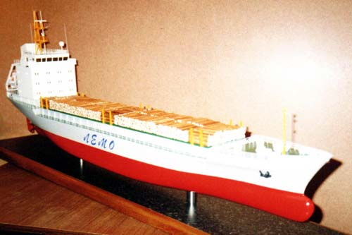 Scale model of drycargo Captain Benin, view on fore