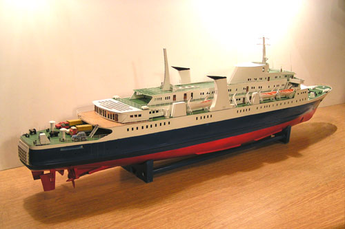 Scale model of ferry Tor Anglia, aft view