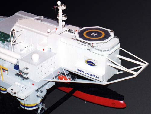 Scale model of launch platform Odyssey, fore part