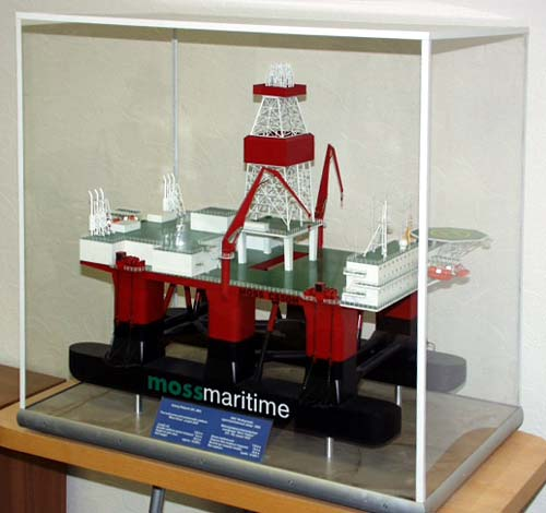 Scale model of offshore unit CS-50M under display case