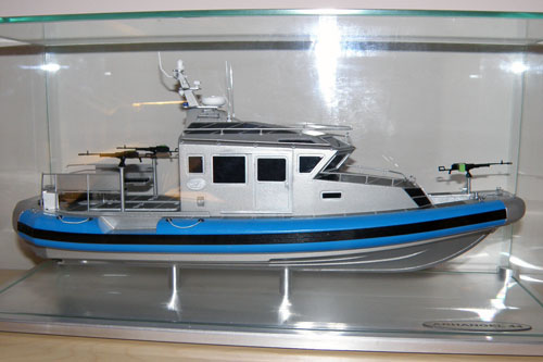 Scale model of patrol boat 440 Archangel, with a machine guns Kord