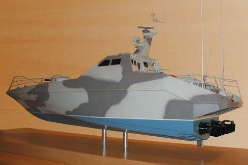 Scale model of patrol boat Harpoon, view on aft