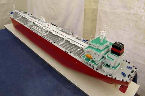 Scale model of tanker Koi, view on stern