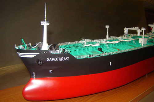 Scale model of tanker Samothraki, fore part