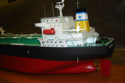 Scale model of tanker Samothraki, aft part with superstructure