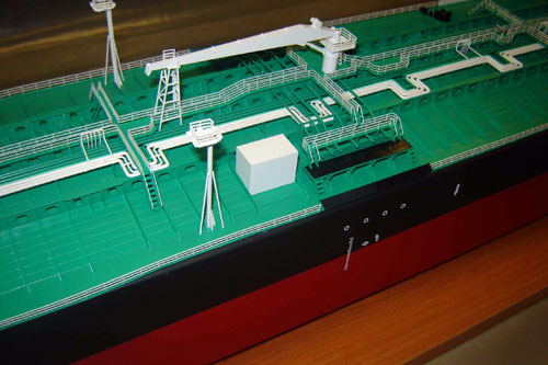Scale model of tanker Samothraki, upper deck