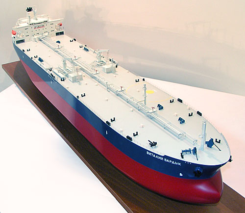 Scale model of tanker Vitaly Bardyk, view from top