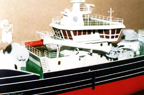 Scale model of trawler Endre Dyroy, superstructure