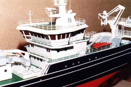 Scale model of trawler Endre Dyroy, view on port side