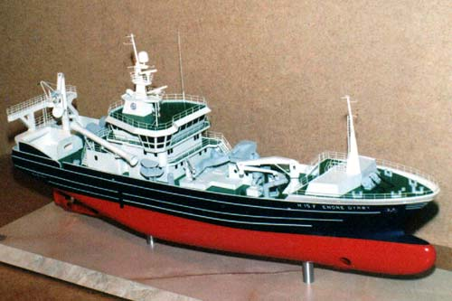 Scale model of trawler Endre Dyroy, view on starboard