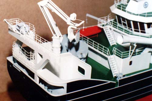 Scale model of trawler Endre Dyroy, poop deck