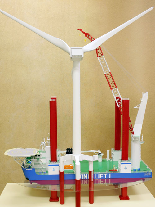 Diorama of scale models of jack-up crane Wind Lift I and wind power