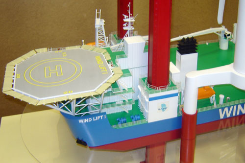 Scale model of jack-up crane Wind Lift I, fore part, view on port side