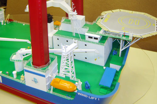 Scale model of jack-up crane Wind Lift I, fore part, view on starboard