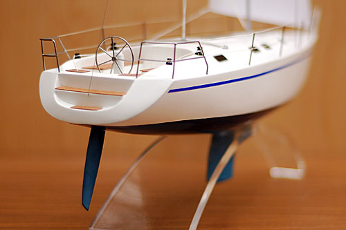 Scale model of sailing yacht Dufour-43, view on aft
