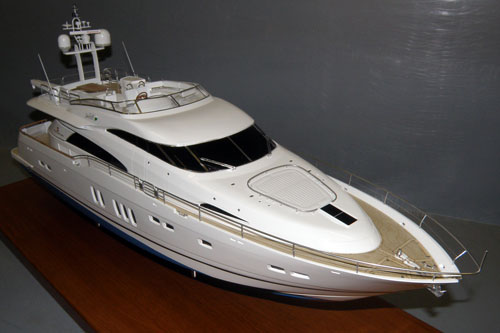 Scale model of motoryacht Fairline Squadron 74, ...