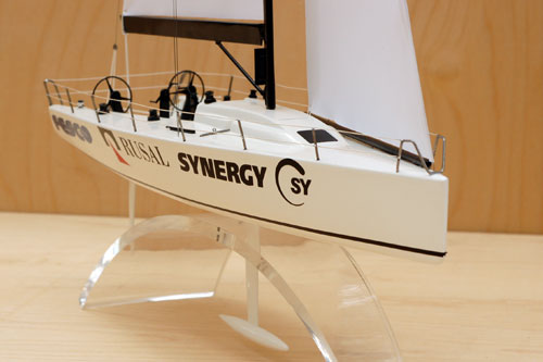Scale model of yacht Transpac-52, view on fore