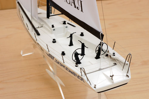 Scale model of yacht Transpac-52, view on aft